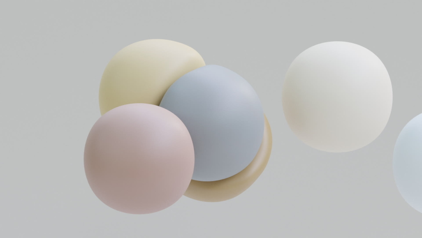 Liquid balls levitation. Morphing spheres in zero gravity movement. Soft body physics 3d render. Slow motion animation of elastic shapes bounce. Colorful fluid objects on grey background.  | Shutterstock HD Video #1053027431