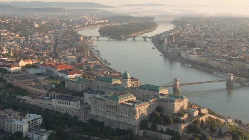 Budapest at sunrise with Buda Castle Royal Palace and chain bridge | Shutterstock HD Video #1053030839