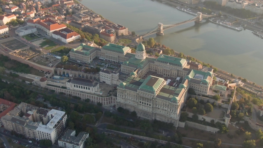 Budapest at sunrise with Buda Castle Royal Palace and chain bridge | Shutterstock HD Video #1053030842