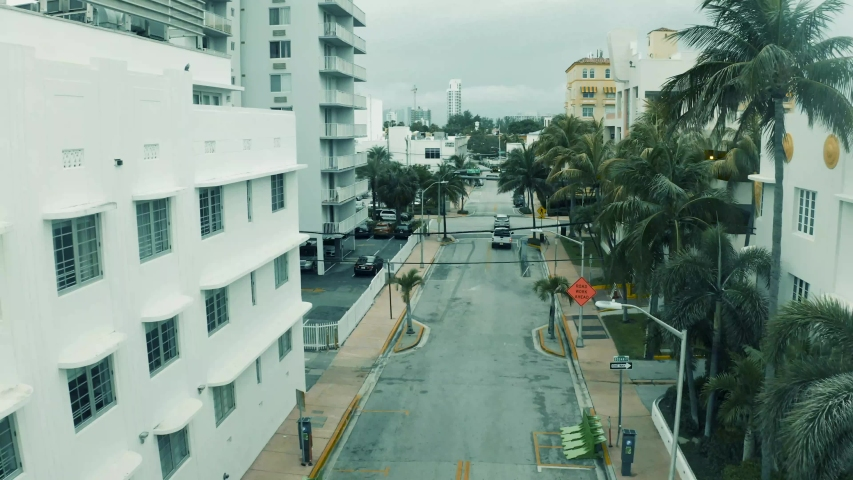 Stay-at-Home Order due to Covid-19. Aerial view of deserted streets in the Miami Beach area.
