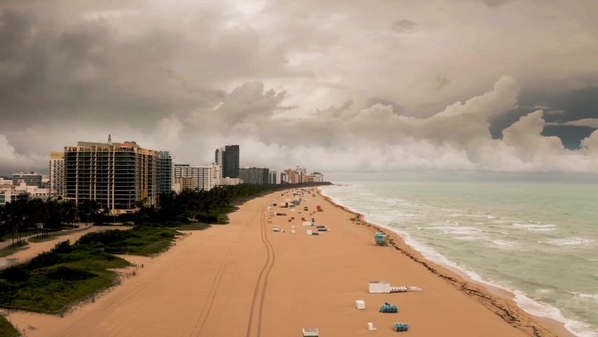 Aerial footage of Miami Beach, Florida during the COVID-19 pandemic.