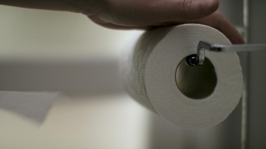 Toilet paper on role. Shot in 4k.  | Shutterstock HD Video #1053049523