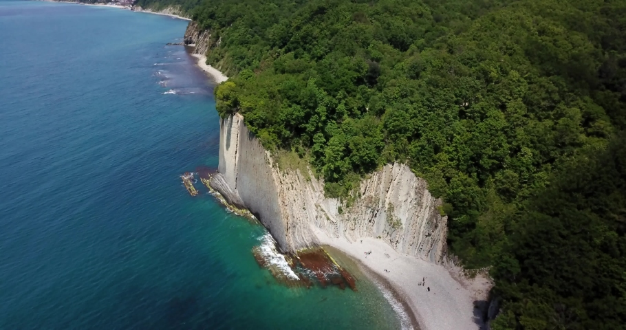 Skala Kiseleva is a natural monument on the territory of the Tuapse district of the Krasnodar Territory. Aerial view from above. 4K footage.