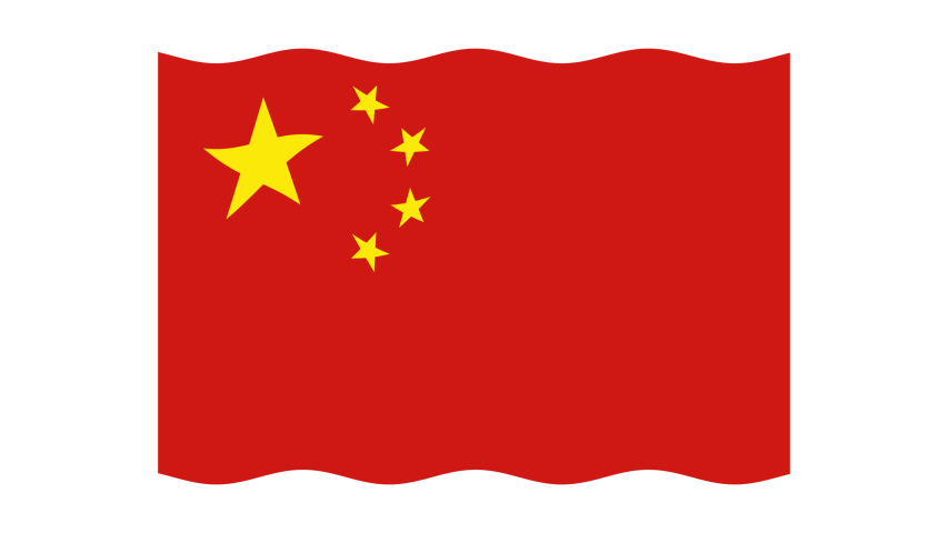 China's flag flutters in the wind. Flat-style animation. Alpha channel. Looped video footage. 4K. HD