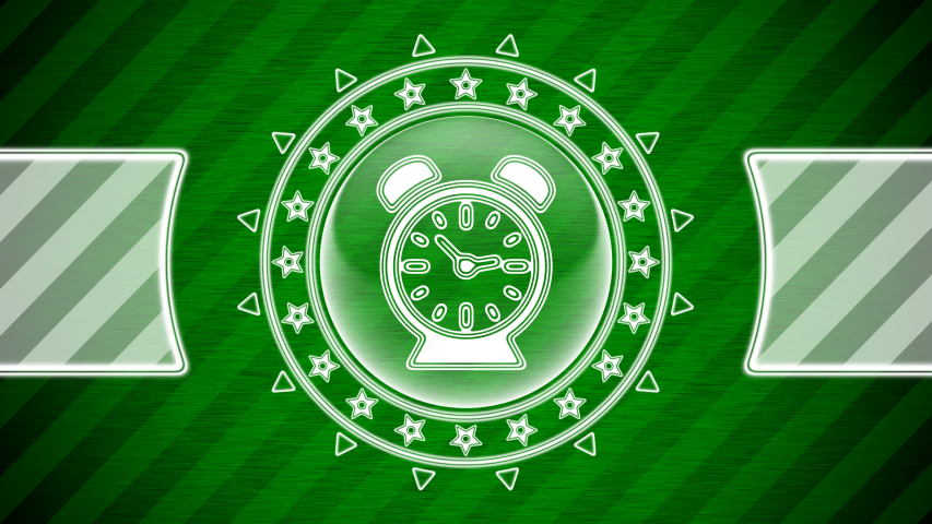 Clock icon in circle shape and green striped background. Illustration.   Shutterstock HD Video #1053067412