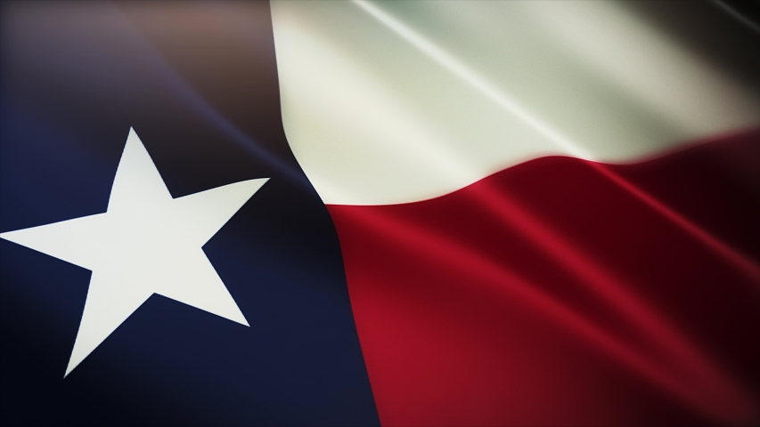 4k Texas flag,State in United States America,cloth texture slow seamless loop waving with visible wrinkles in wind USA sky background.A fully digital rendering,animation loops at 40 seconds.