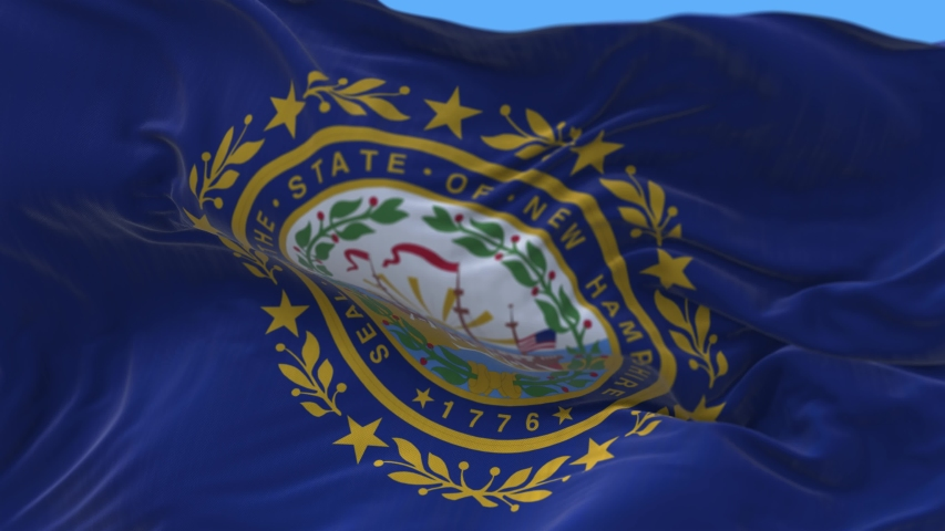 4k New Hampshire flag,State in United States America,cloth texture slow seamless loop waving with visible wrinkles in wind USA sky background.A fully digital rendering,animation loops at 20 seconds.