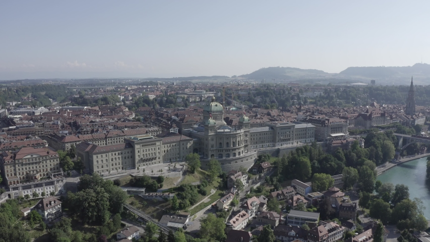 D-Log. Bern, Switzerland. Federal Palace - Bundeshaus, Historic city center, general view, Aerial View, Point of interest