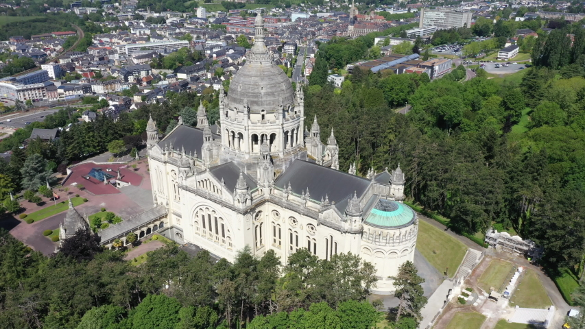 Aerial view of Basilica of St. Therese of Lisieux in Normandy France | Shutterstock HD Video #1053081986