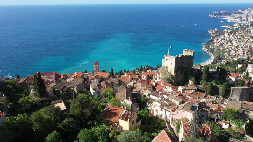 France, Nice, Aerial view of the hilltop village of Roquebrune Cap Martin. | Shutterstock HD Video #1053082061