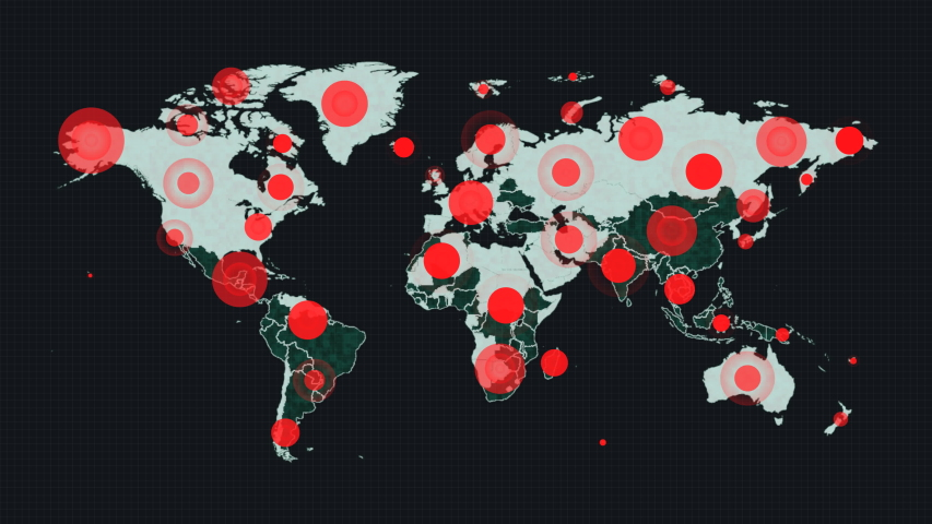 4K World map dots animation.Virus spread world map animation.World map pins.Alarms or signals all over the world. | Shutterstock HD Video #1053083636