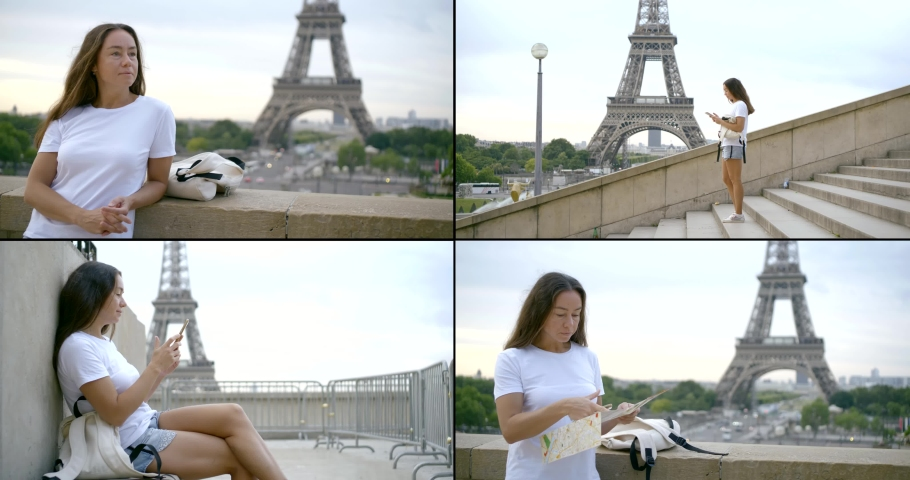 Woman in Paris, collage of shots with Eiffel tower, summer vacation | Shutterstock HD Video #1053084548