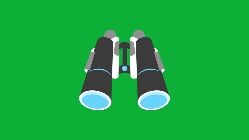 Binoculars Cartoon Vector 4K animation on green screen - Animated icon on Chroma key background  | Shutterstock HD Video #1053090308