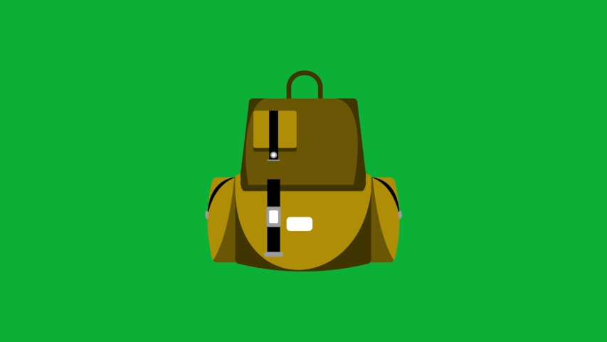 Camping bag cartoon animation on green screen background - Camping equipment - Hiking Bag Animated cartoon icon on Chroma key background  | Shutterstock HD Video #1053090761