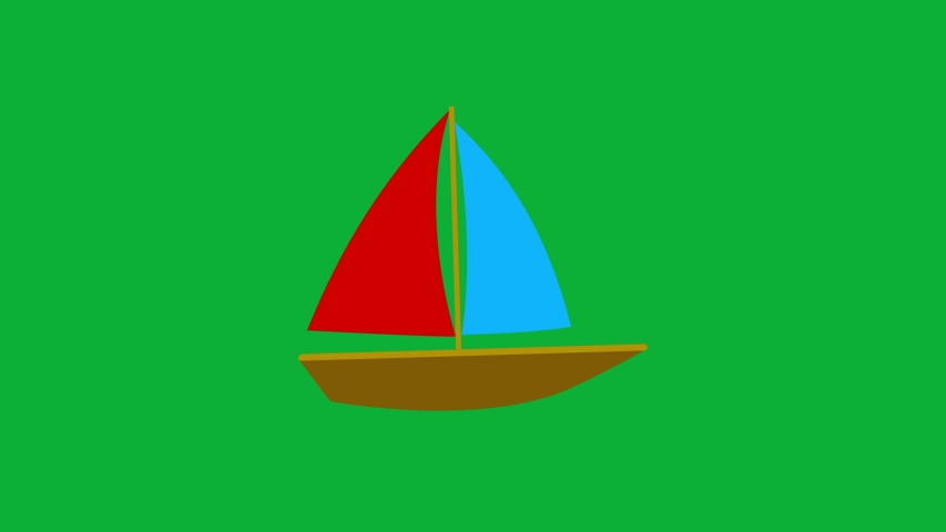 Small Boat Cartoon Vector 4K animation on green screen  - Sailing boat animated icon on Chroma key background  | Shutterstock HD Video #1053091451