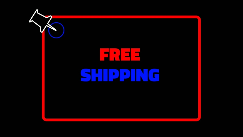 The free shipping text is red and blue with a black background and two red and blue lines that circle around to form a rectangle and a green rectangle that is red in color and a paper needle that  | Shutterstock HD Video #1053091634