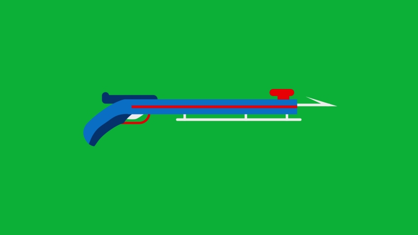 Spear Gun Cartoon Vector 4K animation on Green screen Blue and red - Animated icon on Chroma key background  | Shutterstock HD Video #1053092186
