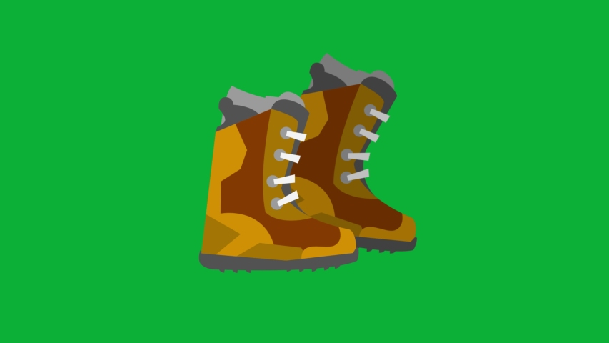 Ski Boots Cartoon Vector 4K animation on Green screen Background - animated Icon on Chroma key background  | Shutterstock HD Video #1053092648