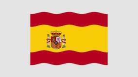 The Spanish flag flutters in the wind. Flat-style animation. The alpha channel is gray. Looped video footage. 4K. HD