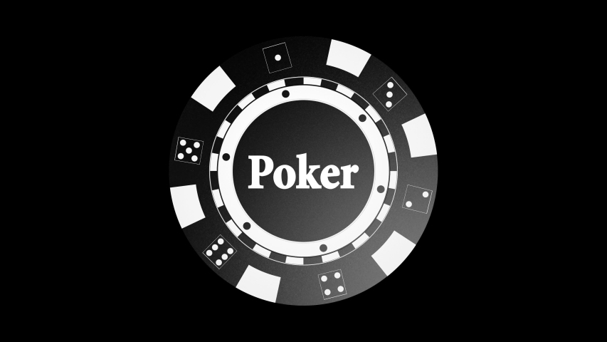 Black Poker Chip Animation, with Alpha Matte, Loop, 4k