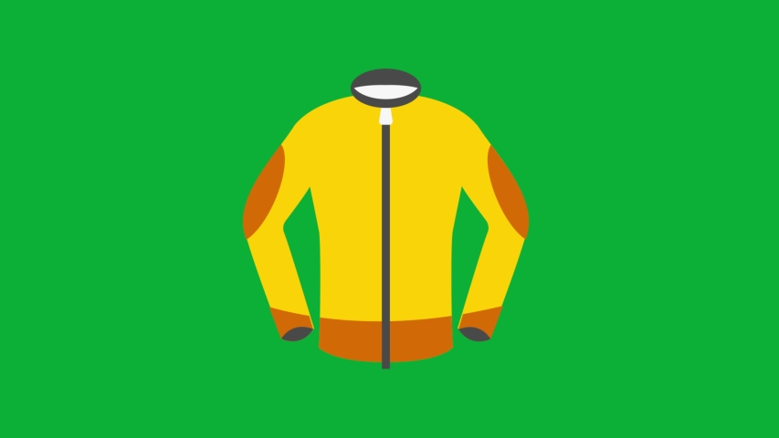 Ski Jacket Yellow and orange color 4K animation on Green screen - Animated Yellow Jacket icon on Chroma key background  | Shutterstock HD Video #1053095726