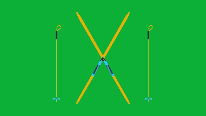 Skis and Ski Poles Cartoon Vector 4K animation on Green screen - Yellow and blue Ski equipment animated icon on Chroma key background   | Shutterstock HD Video #1053096362