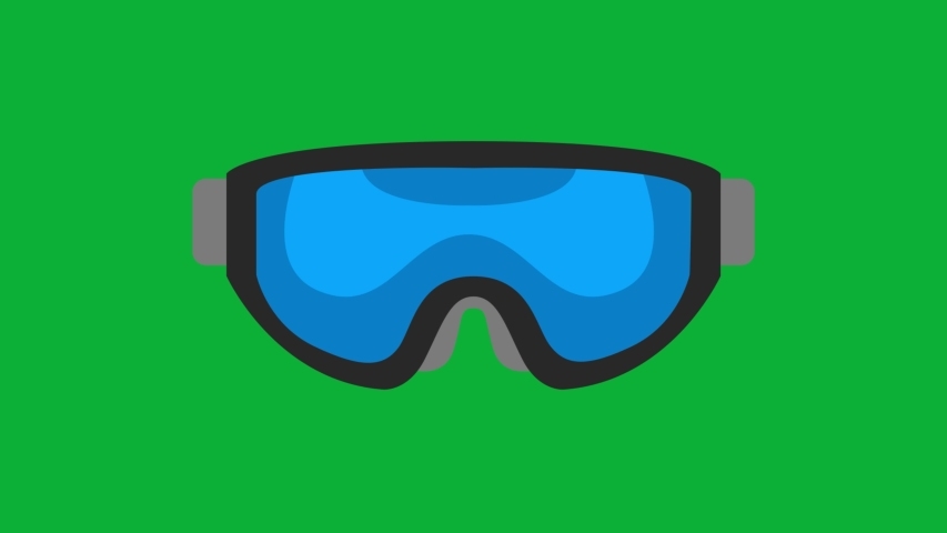 Ski Goggles Blue color Cartoon Vector 4K animation on Green screen Background - Ski equipment animated icon On Chroma key background  | Shutterstock HD Video #1053096632