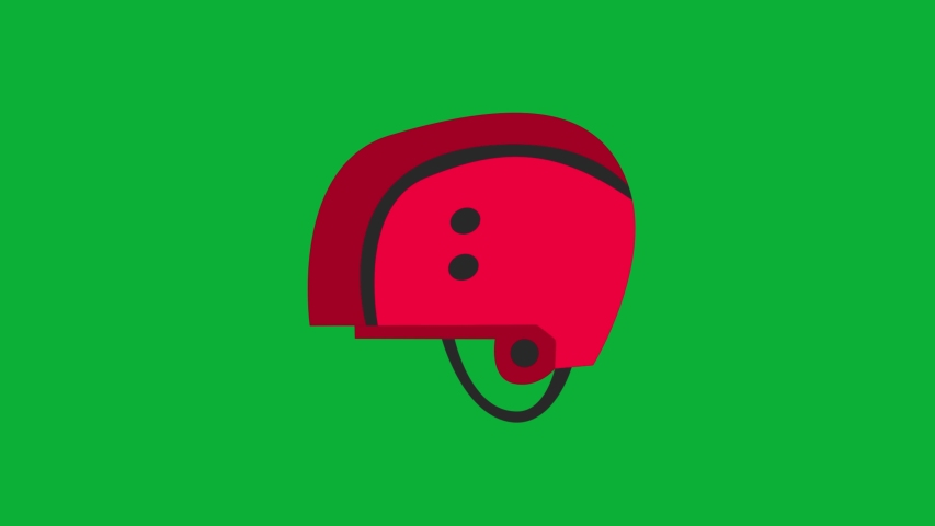 Ski Helmet Red color Cartoon Vector 4k Animation on Green screen - Helmet animated icon on Chroma key background  | Shutterstock HD Video #1053097313