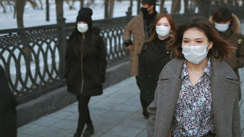 Corona Virus Flu Asia. Wearing Respiratory protection Face Masks Korea. Korean City Street Crowd Walk real. Asian Covid-19 Coronavirus Mers. Chinese People. Lockdown 2019-ncov China. Covid19. Royalty-Free Stock Footage #1053097526