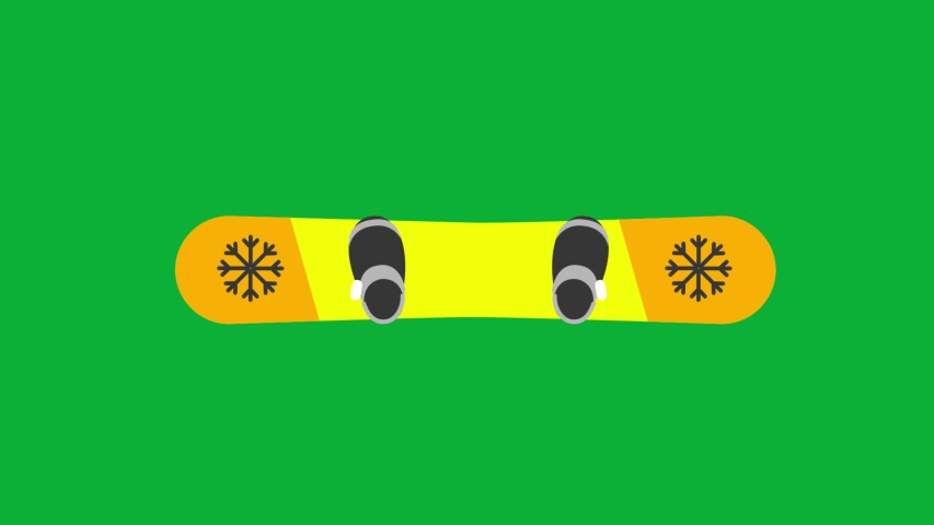 Ski Board - Yellow color Board Cartoon Vector 4K animation on Green screen background - animated  Yellow Ski Board icon on Chroma key background  | Shutterstock HD Video #1053098945