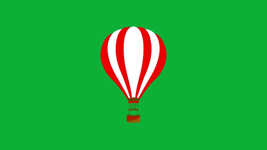Air Balloon 4K animation on Green screen - simple Cartoon animation Red and white Hot air Balloon animated icon on Chroma key Background  | Shutterstock HD Video #1053099005