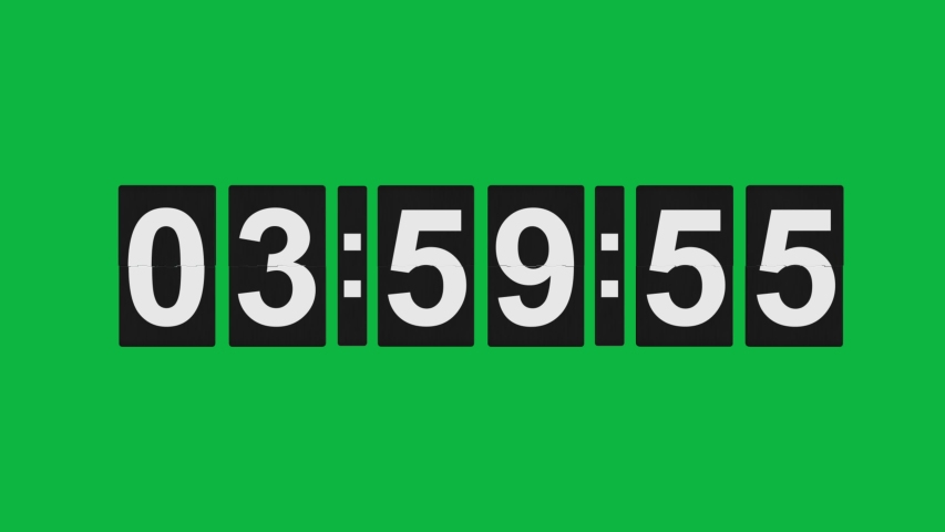 4 o'clock - Digital Number Timer -  Flipping clock 3D animation on Green screen - 1 Minute timer until Four O Clock ( 04:00 AM or PM )  | Shutterstock HD Video #1053099947