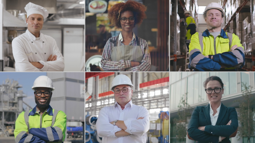 Multi screen of happy diverse young people of different occupation posing at workplace and smiling at camera. Portraits of chef, waitress, businesswoman and industrial workers. Variety of professions