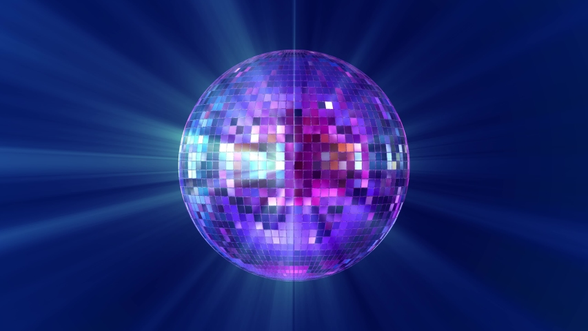 Disco ball with bright rays, night party background. Loop 4k video  Royalty-Free Stock Footage #1053107414