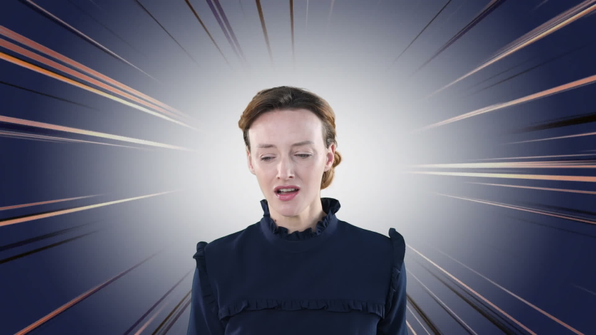 Animation of an angry Caucasian woman shouting at camera with a flashing background. Global economy and technology concept digital composite. | Shutterstock HD Video #1053109226