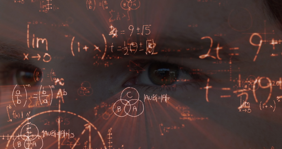 Animation of a close up view of eyes of Caucasian man with floating mathematics formulae. Global economy and technology concept digital composite | Shutterstock HD Video #1053109232