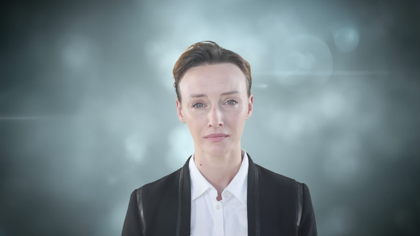 Animation of a Caucasian woman suffering from headache with a flashing background. Health and technology concept digital composite | Shutterstock HD Video #1053111377