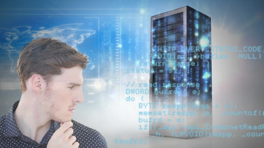 Animation of a confident Caucasian man smiling and looking at camera with processing servers in the background. Global economy and technology concept digital composite | Shutterstock HD Video #1053111383