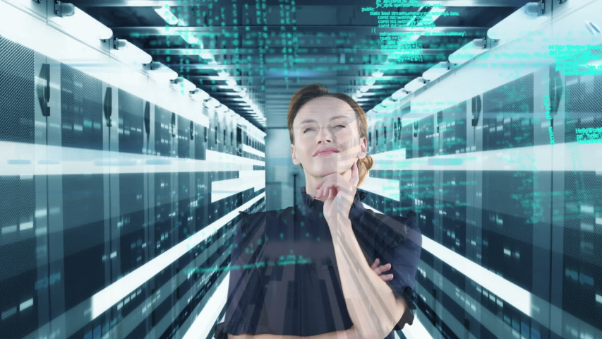 Animation of a thoughtful Caucasian woman thinking over data and numbers floating. Global economy and technology concept digital composite | Shutterstock HD Video #1053111386