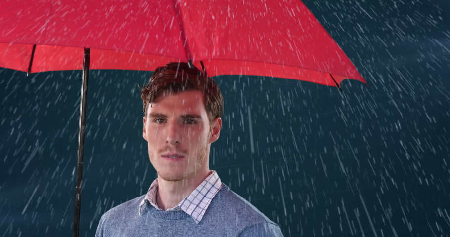 Animation of a Caucasian man using an umbrella, checking if its raining with processing data appearing in the background. Global economy and technology concept digital composite | Shutterstock HD Video #1053111389
