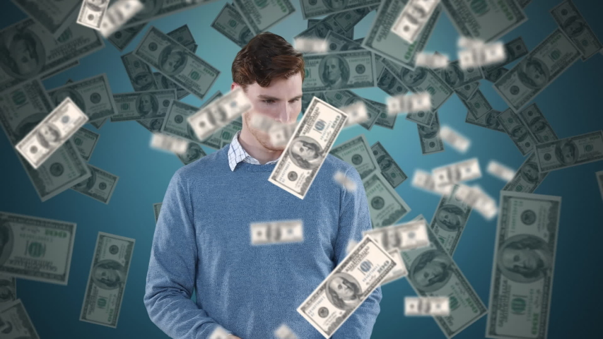 Animation of a Caucasian man using an umbrella with dollar bills falling down. Global economy and technology concept digital composite | Shutterstock HD Video #1053111392