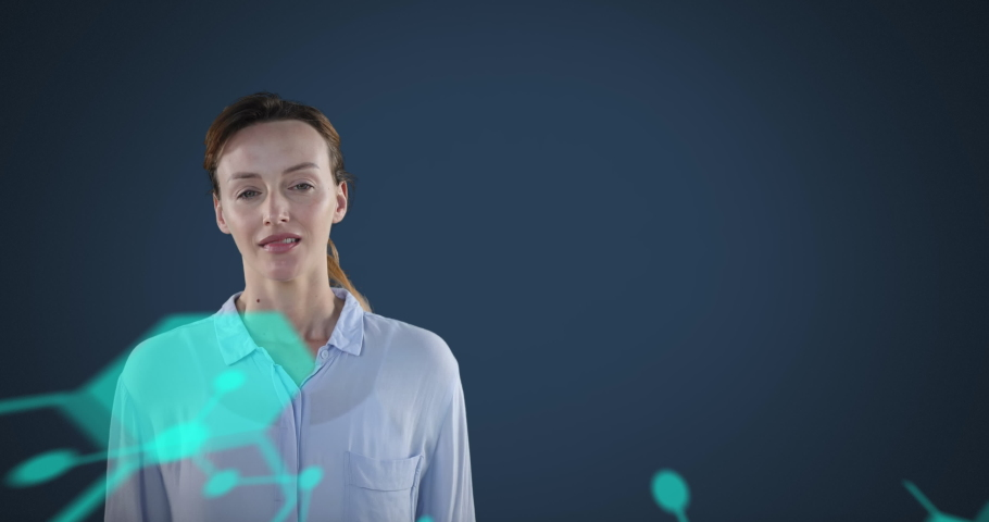 Animation of a furious Caucasian woman with light blue brain and molecule formulae icons floating in the foreground. Global economy and technology concept digital composite | Shutterstock HD Video #1053111395