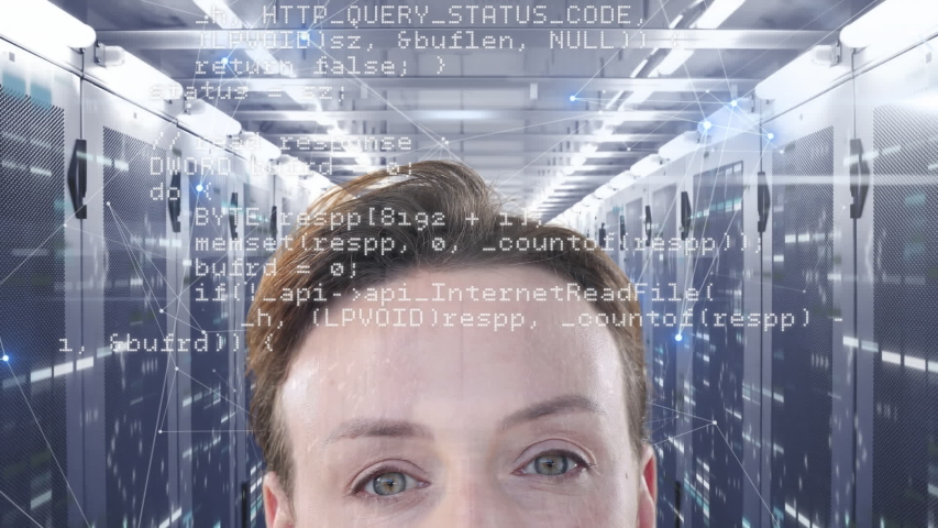 Animation of a forehead of Caucasian woman, looking at floating data with processing servers in the background. Global economy and technology concept digital composite | Shutterstock HD Video #1053111410