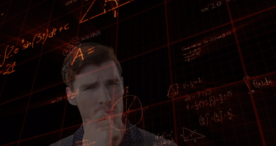Animation of a thoughtful Caucasian man with mathematics formulae floating in the foreground. Global economy and technology concept digital composite | Shutterstock HD Video #1053111413