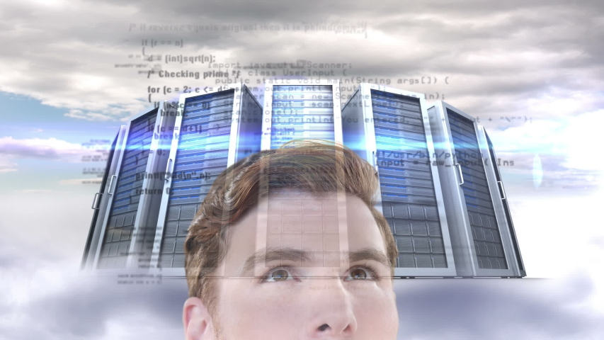 Animation of a thoughtful Caucasian man looking at floating data with processing servers in the background. Global economy and technology concept digital composite | Shutterstock HD Video #1053111416