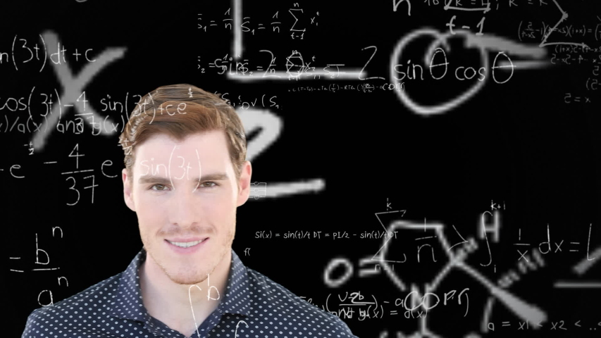 Animation of a Caucasian man, standing in front of a chalkboard with floating mathematics formulae, smiling and looking at camera. Global economy and technology concept digital composite | Shutterstock HD Video #1053111419