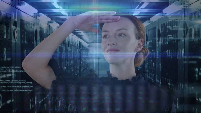 Animation of a Caucasian woman holding her hand at her forehead and looking for something over data and numbers floating. Global economy and technology concept digital composite | Shutterstock HD Video #1053111425