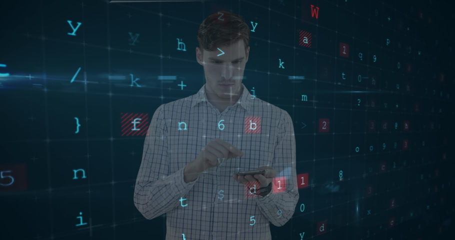 Animation of a Caucasian man, holding a digital tablet with processing data and numbers floating in the foreground. Global economy and technology concept digital composite | Shutterstock HD Video #1053113660