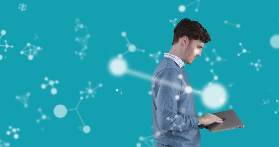 Animation of a Caucasian man using his tablet computer and looking at floating molecules formulae on blue background. Global economy and technology concept digital composite | Shutterstock HD Video #1053113666