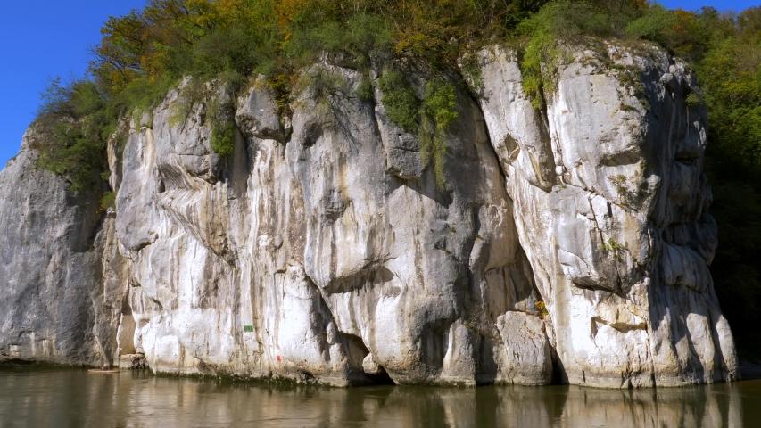Danube Gorge Nature Reserve, Weltenburger Enge at Weltenburg Monastery near Kelheim, Lower Bavaria, Bavaria, Germany, Europe | Shutterstock HD Video #1053117773